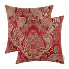 Pack of 2 Square Pillow Cushion Covers Paisley Floral Reversible Jacquard 18 X18