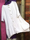 """ELLA MODA WHITE LINEN BUTTON UP JACKET RUCHED SIDES WITH POCKETS SIZE M 40"""" BNWT"""
