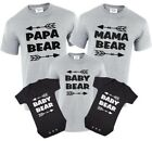 Papa Bear,Mama Bear,Baby Bear T-Shirt Set Gift Birthday Tops Bear & Arrow Family