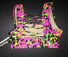 NWT Body Wrappers strappy back animal print bra bright colors Ladies XS/Sm #7230