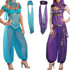 Women Lady Genie Princess Jasmine Arabian Fancy Dress Belly Dancer Costume Set