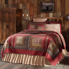 TACOMA QUILT SET-choose size & accessories-Log Cabin Red Plaid Lodge VHC Brands image