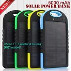5000 mAh Dual-USB WATERPROOF SOLAR POWER BANK Battery Charger for Stall Phone New