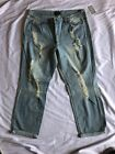 NWT FOREVER 21 WOMENS PLUS SIZE DISTRESSED DENIM PANT/ANKLE LIGHT DENIM SZ:12-20