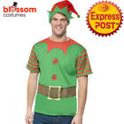 CA127 Mens Instant Elf Costume Kit T Shirt & Hat Santas Helper Christmas Xmas