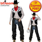 CA401 Mens Cowboy Classic Leather Chaps Wild West Western Fancy Costume Belt