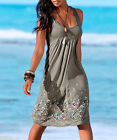 36-46 Damen Cocktail Strandkleider Weste Vest Mini Kleid Ärmellos Kleid Sommer