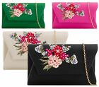 LADIES FAUX LEATHER EMBROIDED FLORAL ENVELOPE WEDDING PARTY EVENING CLUTCH BAG