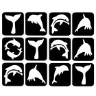 12 x Glitter Tattoo Stencils - Dolphins Refill Face Painting Airbrush Festival