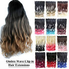 130g 24inch Two Tones Ombre Wave Clip in Hair Extensions Hairpieces One Piece