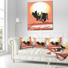 East Urban Home Abstract Birds at Sunset Vector Drawing Pillow