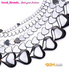 """Natural Hematite Heart Smooth Stone Beads for Jewelry Making 15"""" Nonmagnetic"""