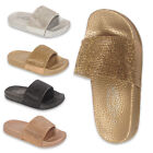 Kids Girls Diamante Slides Rubber Sliders Flats Shoes Slider Slipper sandal Size