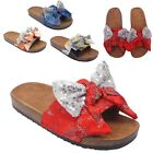 Womens Ladies Glittery Flat Shoes Slip On Open Toe Slippers Summer Sandals Size