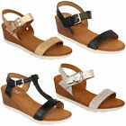 Ladies Strappy Sandals Womens Wedge Diamante Open Toe Shoes Party Buckle Summer