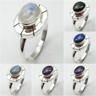 Many Sizes !! 925 PURE Silver RAINBOW MOONSTONE & Other Gem Ring FASHION Jewelry