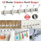 6/12 Wall Mounted Hat Clothes Hanging Coat Rack Hanger Robe Holder Hooks Rail