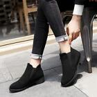 Womens Casual Ankle Boots Suede Pull On Ridding Shoes Block Low Heels Fashion T8
