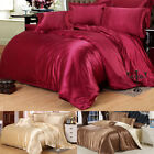 Luxury Silk Blend Twin Queen King Duvet Cover Pillowcase Sheet Bedding Sets Chic image
