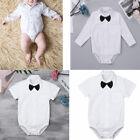 Newborn Baby Boys Gentleman Formal Dress Shirt Romper Bodysuit Party Outfits