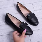 Womens Flat Loafer Work Bow Girls School Smart Ballet Flat Ladies Shoe Size