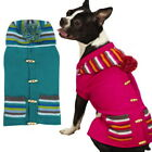 Dog Puppy Sweater Hoodie - East Side Collection - Bright Stripe w Pom Poms