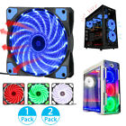 3-4Pin 15-LED Lights Neon Quite Clear 120mm PC Computer Case Cooling Fan Mod DIY