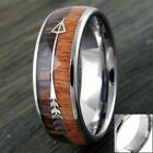 Engraved 6/8mm Tungsten Men's Wood & Arrow Wedding Band Ring Size 5-15