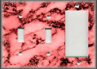 Metal Light Switch Plate Covers & Outlets Marble Stone Design Home Decor Red 02