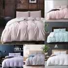 Pure Washed Cotton Duvet Cover Sets Zipper Closure Bedding Set with Pillowcase
