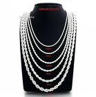"""Mens Rope Chain Necklace Bracelet 2.5mm to 6mm 925 Silver Plated 18, 20, 24, 30"""" image"""