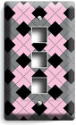 ARGYLE BLACK GRAY PINK LIGHT SWITCH OUTLET WALL PLATES ROOM FASHION STUDIO DECOR