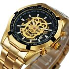 New Skull Skeleton Automatic Mechanical Watches Mens Wrist Watch Stainless Steel image
