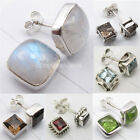 925 Sterling Silver SQUARE SHAPE Studs Post Earrings ! Many Styles, Many Stones