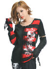 GLP GOTHIC PUNK LOLITA 71221 BLACK RED STRIPE SWEATER TOP