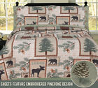 Twin, Full, Queen or King Elk Bear Rustic Lodge Cabin Quilt and Sheet Bed Set image