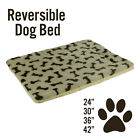 Dog Cat Pet Bed Mat Crate Kennel Cage Fleece Sherpa Pad Reversible, Bone Print for sale  Grand Blanc