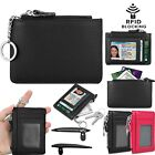 Leather Zip Credit Card Holder Wallet with ID Window Keychain RFID Blocking image