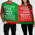 Couples Lovers Momola Christmas Naughty And Nice Double Xmas Jumper Sweatshirt