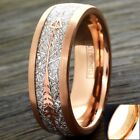 6/8mm Rose Gold Tungsten Meteorite & Arrow Wedding Band Ring-Engraving Avail.