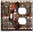 AFRICAN TRIBAL MASK CHIEF WARRIOR MUD CLOTH LIGHT SWITCH OUTLET WALL PLATE DECOR