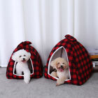 Cat Cave Small Dog Tent Winter Warm House Kennel Bed Plaid Igloo With Cushion