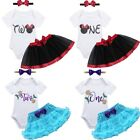 3PCS Baby Girls 1st/2nd Birthday Party Romper Tulle Skirt Headband Dress Outfits