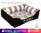 Black, Grey, Yellow Designer Dog Bed or Cat Bed   Washable Reversible