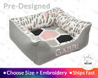 Modern Cat Bed Geometric Pet Bed Dog Bed | Leopard Light Pink Gray Embroidery