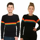 Run and Fly Rainbow Stripe Navy Jumper Top Bright Colourful Retro 70s Gay Pride