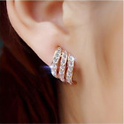 925Silver/Rose Gold Angel Wings White Sapphire-Studded Personality Stud Earrings