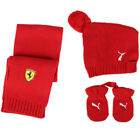 Puma SF Ferrari Mini Cats Rosso Corsa Mittens Scarf Hat Kids Set 761767 02 UW