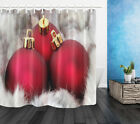 Big Red Christmas Balls Baubles Polyester Fabric Shower Curtain Bath Set