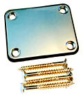 Engraved Silver Chrome Guitar Neck Plate With One Rubber mat and screws AA140